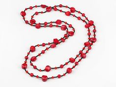 fashion costume jewelry red coral and red crystal and bloodstone necklace--Aypearl.com