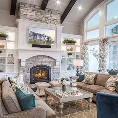 Living Room With Fireplace, Cozy Living Rooms, Home Living Room, Living Room Decor, Barn Living, Living Room Kitchen Layout, French Living Rooms, Beautiful Living Rooms, Best Living Room Design