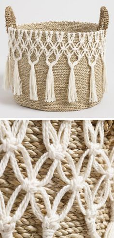 I love this large natural seagrass haven basket with white tasseled macrame design. I will adore for display, storage or both. Perfect for my bohemian styled bedroom. I will try to make a DIY version for myself. #ad #macrame #basket #homedecor #storage #organization #bohemian #boho #decoration #seagrass