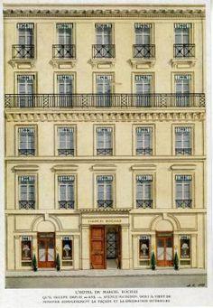 Fachada do edifício Marcel Rochas em Paris em 12 de avenue Matignon, em 1949. Em junho de 1933, a empresa mudou-se do Faubourg Saint-Honoré para esta moradia.  Aguarela por Alexandre Serebriakoff (1907-1994).