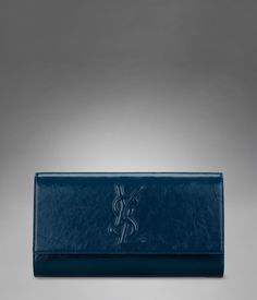 Large YSL Clutch in Peacock Blue Patent Leather