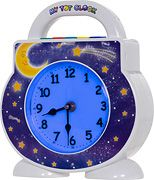 """Need one for my 2 year old who is new to a """"big boy"""" bed.  Clock stays softly lit blue all night and turns yellow at a time you program (hello, 7:00am!) for the morning.  That way kiddo knows when it is OKAY to get out of bed, not at 5am when parent needs a few mins in silent to wake up.  :)"""