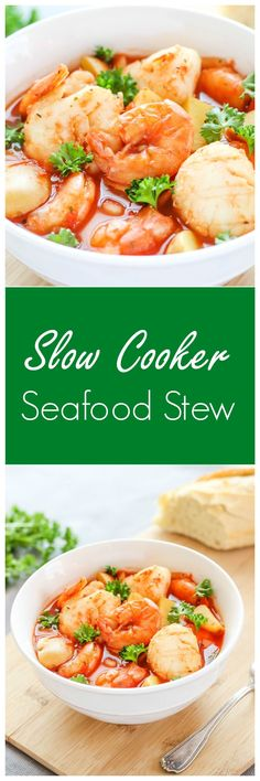 Slow Cooker Seafood Stew - a delicious seafood recipe cooked in a tomato-based broth with potatoes. This stew is comforting and is an easy to make dinner recipe! #seafoodrecipes