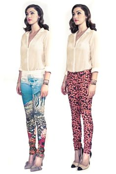 pink floral printed denim (the pair on the right) - I WANT!