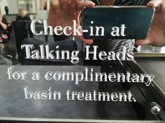On our mirror in the salon.  When you check into the salon on Facebook or Google - you receive a complimentary treatment.  www.talkingheadshairdesign.co.za #strand #talkingheadshairdesign #talkingheads #headsofhairthatspeakvolumes #hairsalonfortalkingheads #checkingtofacebook #checkintogoogle #reviewusongoogle