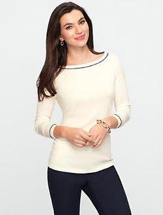 Talbots - Tipped Boatneck Sweater | | Misses 4 colors: poppy, cornflower, ivory, indigo $69.50 Feb 2014