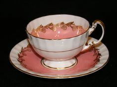 Aynsley Teacup and Saucer Soft pink and gold 19341939 by RCSales, $42.00