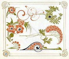 art nouveaus embroidery | Art Nouveau Ornaments. Alfons Mucha Decoration, Graphics Art deco ...