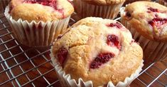 Strawberry Muffins - light and fluffy, these gluten free muffins are a delicious way to start the day. Gluten Free Muffins, Gluten Free Sweets, Healthy Muffins, Low Sodium Desserts, Low Sodium Recipes, Recipe Roost, Strawberry Muffins, Corn Muffins, Lunch To Go