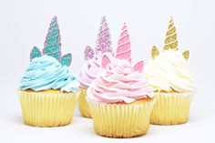 Unicorn Horn + Ears Cupcake Toppers - Glitter - First Birthday Decor. Unicorn Party Decor. Birthday Party. Bachelorette Party. Unicorn Decor by tenderlovecardstock on Etsy https://www.etsy.com/listing/512484718/unicorn-horn-ears-cupcake-toppers