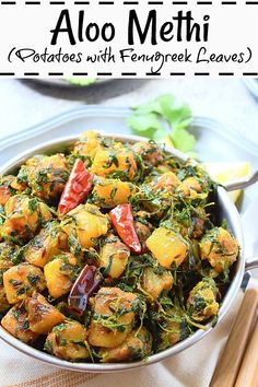Aloo methi recipe with step-by-step pictures. How to prepare aloo methi, a simple yet delicious and wholesome vegetarian preparation. Aloo Methi Recipe, Methi Recipes, Humble Potato, Raw Potato, Potato Recipes, Vegetable Recipes, Aloo Gobi, Cubed Potatoes, Veg Dishes