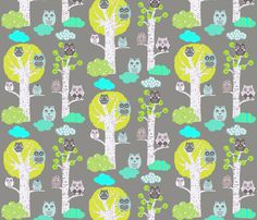 night owls in trees fabric by katarina on Spoonflower - custom fabric