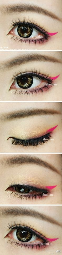 Add a tiny flick of hot pink at the corners. | 19 Awesome Eye Makeup Ideas For Asians