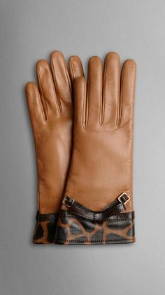 Burberry Brown Animal Print Bow Detail Gloves