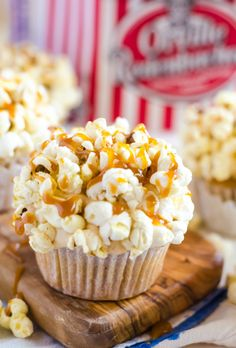 Brown Butter Cupcakes With Caramel Frosting and Popcorn.