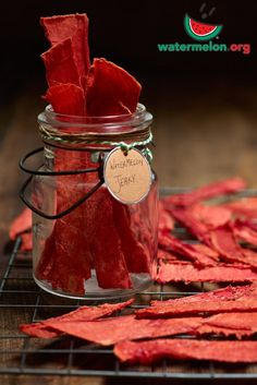 """Dehydrated watermelon jerky makes for a pleasantly chewy snack. This is better than any fruit leather you can buy at the store! Print Watermelon Jerky  Ingredients 1 medium watermelon cut into 6""""-8"""" strips about ½"""" thick (think men's belt or Hershey bar) Instructions Place watermelon strips in dehydrator or in your oven at the …"""