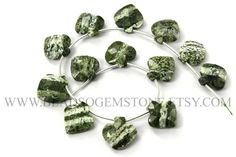 Semiprecious Gemstone Green Zebra Jasper Beads, Apple Faceted (Quality AA), 13 to 14.5, GREE-013, Craft Supplies For Jewelry Making by beadsogemstone on Etsy