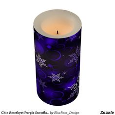 Chic Amethyst Purple Snowflake Motif Flameless Candle Holiday Cards, Christmas Cards, Christmas Decorations, Flameless Candles, Pillar Candles, Candle Set, Christmas Items, Holiday Treats, Christmas Card Holders