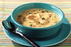 Serve up some Santa Fe-style deliciousness with this cilantro-spiked, fajita-seasoned chicken soup. Neufchatel and VELVEETA make it nice and cheesy too.