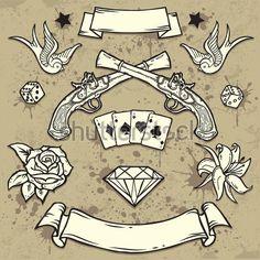 Conjunto Da Antiga Escola Tatuagem Elementos clip arts - ClipartLogo.com