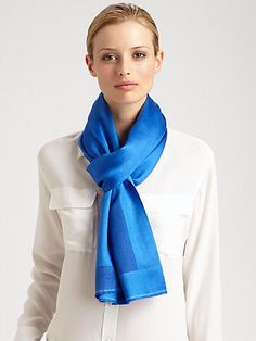 $325, Blue Scarf: Bajra Frame Satin Weave Scarf. Sold by Saks Fifth Avenue. Click for more info: https://lookastic.com/women/shop_items/35474/redirect