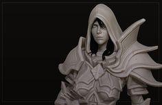 Hi-poly model Demon Hunter Valla Fanart for Heroes of the Storm game. Final low-poly model soon))) Storm Games, Heroes Of The Storm, Low Poly Models, Demon Hunter, 3d Girl, Game Art, Sculpting, Concept Art, Character Design