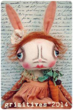 Primitive Original Art Doll Bunny Rabbit Doll by GRIMITIVES, $175.00