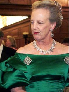 Queen Margrethe of Denmark wearing the  King Fahd of Saudi Arabia gift necklace: rarely worn by Her Majesty