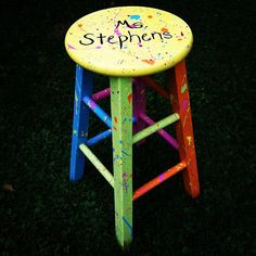 Splatter Paint Teacher Stool.   #Create2Educate #Sweepstakes. Enter your own project for a chance to win a $50 gift card to Michaels.   Learn more:  https://www.facebook.com/Michaels?sk=app_584051421645085