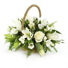 Not sure which funeral flowers or sympathy flowers to send? View the types of Funeral Flowers available in our detailed Funeral Flower Guide Basket Flower Arrangements, Funeral Flower Arrangements, Beautiful Flower Arrangements, Beautiful Flowers, Church Flowers, Funeral Flowers, All Flowers, Deco Floral, Arte Floral