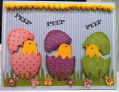 "By ann at Splitcoaststampers. Easter card. Used Stampin' Up ""Two Step Bird Punch"" and ""Large Oval Punch"" with designer paper. Sponged bird's beaks and edges of eggs."