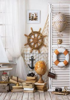 Boys travel interiors room boat steering wheel Back to School photography backdrop