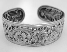 Kirk Repousse Cuff Bracelet Sterling Silver 1950