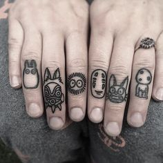 This is so awesome. #Ghibli #knuckletattoos by @winkevans