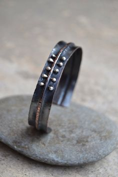 Items similar to rustic foldformed oxidized copper cuff bracelet with sterling silver rivets by Studio Luna Verde on Etsy Black Jewelry, Copper Jewelry, Indian Jewelry, Unusual Jewelry, Modern Jewelry, Metal Bracelets, Cuff Bracelets, Copper Cuff, Silver Work