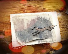 Stitched Fox Art Card -  Handmade Stitched Paper and Canvas Artwork Card with Recycled Printmakers' Paper