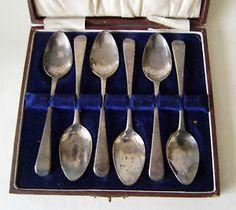 vintage regency set of 6 silver Tea Spoons original display - George III 1813