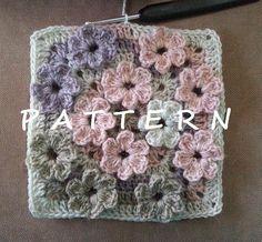 Crochet Meadow of Flowers textured modern granny square pattern, baby blanket motif