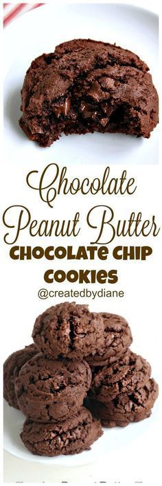 Chocolaty peanut butter chocolate chip cookies Created by Diane peanutbutter recipes Cookie Desserts, Just Desserts, Cookie Recipes, Delicious Desserts, Dessert Recipes, Yummy Food, Cookie Bars, Recipes Dinner, Chocolate Peanut Butter Cookies