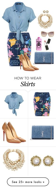 denim skirt by humblechick1 on Polyvore featuring Love Moschino, Christian Louboutin, Yves Saint Laurent, Valfré, Sigma Beauty, Kate Spade, Linda Farrow Luxe, Kendra Scott, womens clothing and women