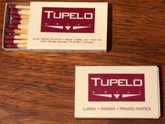 Tupelo Grill #matchboxes - Penn Plaza, NYC - To order your business' own branded #matchbooks or #matchboxes go to www.GetMatches.com or call 800.605.7331 Today!