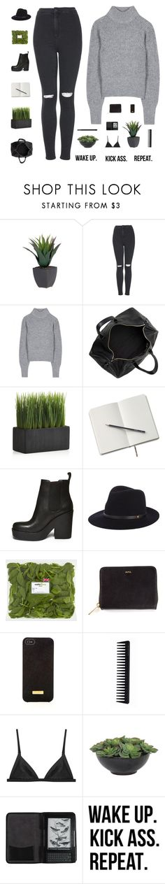 """""""[Mike]'s a great catch, and those eyes... I'm a scientist I observe"""" by smoothpeanutbutter ❤ liked on Polyvore featuring Topshop, Acne Studios, Alexander Wang, Crate and Barrel, Steve Madden, rag & bone, A.P.C., Henri Bendel, GHD and Lux-Art Silks"""