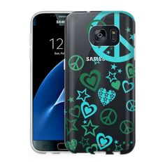 Samsung Galaxy S7 Clear Case - Green Love Peace Stars