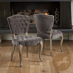 Tufted Charcoal Fabric Dining Chairs