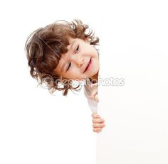 Curly funny child face holding blank advertising banner — Stock Image #7398188
