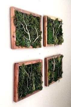 Green Moss Art Set Plantscape Statement Wall Plant Art