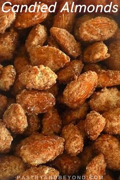 Candied Almonds-You can make these delicious cinnamon-vanilla flavored crunchy candied almonds with few ingredients! This homemade candy recipe is so easy to make. It'll be ready in 10-12 minutes! Almond Pastry, Candied Almonds, Easy Sweets, No Bake Snacks, Christmas Snacks, Homemade Candies, Few Ingredients, Vanilla Flavoring, Almond Recipes