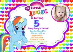 Rainbow Design My Little Pony Birthday Party Invitation Custom Photo