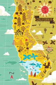California map poster illustrated map of california on behance map West Coast Usa, California Dreamin', Vintage California, Travel Illustration, Map Design, City Maps, Travel Maps, Illustrations, Vintage Travel Posters