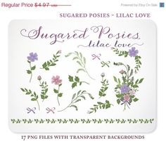 Sugared Posies - the Lilac Love Collection  Flowers, Buds, Greens and a Bouquet add a soft touch to stationery, scrapbooking, and branding. https://www.etsy.com/listing/155689462